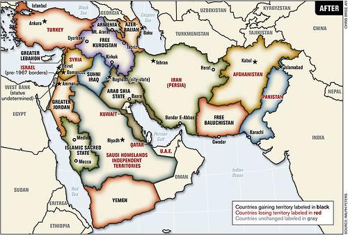 La vision géopolitique d'un moyen-orient remodelé par l'Otan.